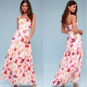 NWT Lulu's Whimsical Watercolors floral maxi dress